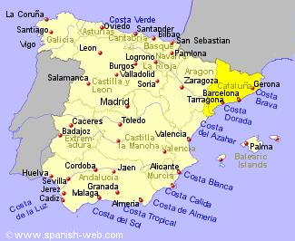 Каталония на карте Испании обозначена желтым